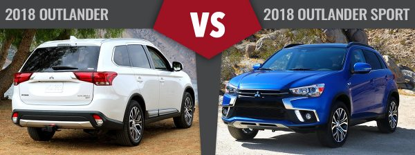 2018 Mitsubishi Outlander (left). 2018 Mitsubishi Outlander Sport (right).